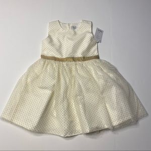 NWT Toddler White Gold Special Occasion Dress 3T